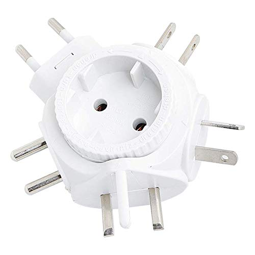 LogiLink PA0054 Reiseadapter Steckdose für Euro Stecker, für viele Länder geeignet (Siehe Beschreibung), 2500W Weiß