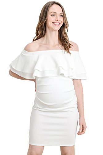 LaClef Women's Off Shoulder Maternity Dress with Double Ruffle (Off White, Small)