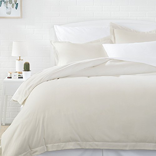 AmazonBasics Light-Weight Microfiber Duvet Cover Set with Snap Buttons - Full/Queen, Beige