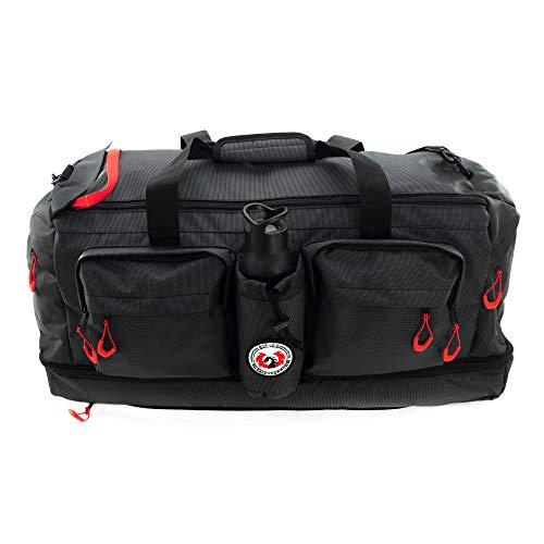 RYP-DO Sporttasche 3 in 1 - Große Reisetasche Schwarz - Rucksackfunktion mit Trennwänden - ca. 75 Liter mit 7 Taschen und separatem Bodenfach - Sportbag XXL