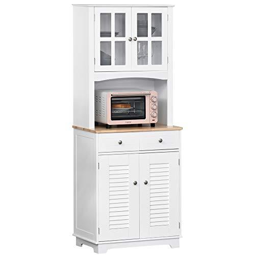HOMCOM Mueble Auxiliar de Cocina Aparador Alacena con 2 Armarios de Puertas 2 Cajones y Estante Abierto para Microondas 68x39,5x170 cm Blanco