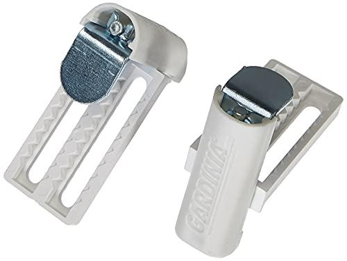 Gardinia 10004205, Enganches de metal Universal de gran calidad, apto para persianas y plisado, 2 unidades, blanco, ajustable 6-26 mm