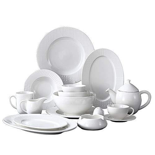 XLNB 48 Piezas De Vajilla, Vajilla De Cerámica Blanca, Combinación Completa De Porcelana con Platos, Cuencos, Tazas Y...