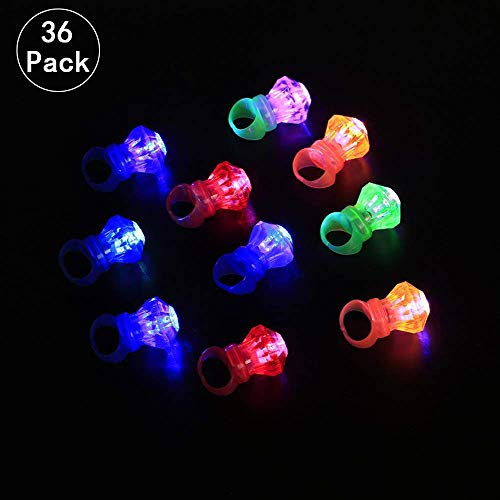 Mein HERZ 36 Pcs LED Blinkender Ring Finger LED Leuchtender Ring Superhelles Diamantringlicht Party Individuelles Aufführungskonzert/Geburtstagsfeier/Hochzeit/Bar etc(Farbmischung)