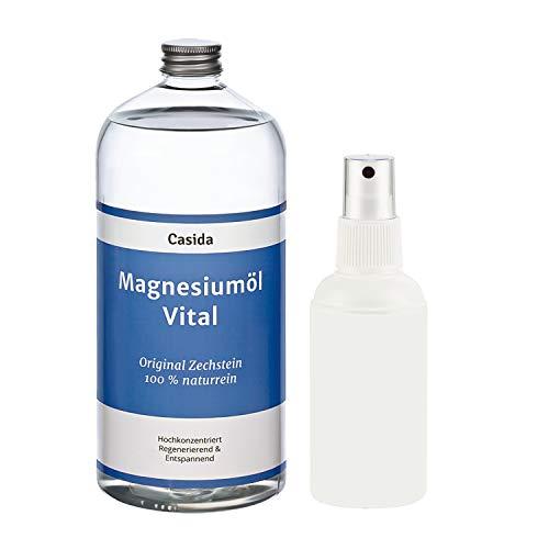 Magnesiumöl Vital 1000ml / 1 Liter mit extra Sprühflasche - Original Zechstein Magnesium Öl aus der Apotheke - Ideal zum Nachfüllen von Magnesiumspray
