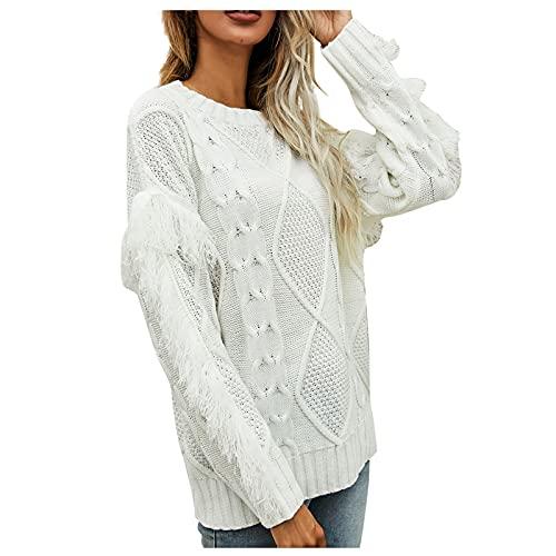 Shopler Suéter de punto de cable para mujer, de manga larga, con borla, cuello redondo, casual, color sólido, sudaderas, blanco, XL