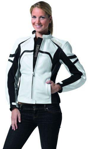 Racer Sue Ladies Lederjacke, Schwarz/Weiß, Größe 38