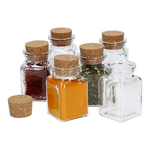 MamboCat 6-delig Kruidenpotjes met kurksluiting, vierkantglas, 150 ml, herbruikbare bewaardoos voor het opbergen van keukenkruiden en specerijen