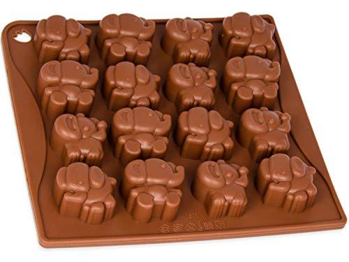 Pralinenform mit Elefanten, Silikonform 16 kleine Jumbos, süße Silikonform, Party-Eiswürfel, Backform, Geschenkidee, Schokolade, Pralinen, Geburtstag, Kuchen, basteln, Süßigkeit, Farbe: Braun