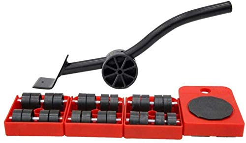 genneric Möbel Transport Tools Set, Lifter Radsatz mit 1 Hubstange und 4 Pack 360 Grad drehbare Möbel Folien-Set, Last: 150 Kg (Color : Red)