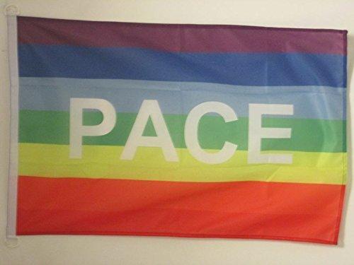 AZ FLAG Flagge Regenbogen Frieden PACE 90x60cm - Peace Fahne 60 x 90 cm Aussenverwendung - flaggen Top Qualität