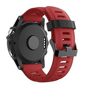 SUPORE Garmin Fenix 3 Correa de Reloj, reemplazo Respirable Suave del silicón Pulsera Hermosa Deporte y edición para Fenix 3/Fenix 3 HR/Fenix 5X Multi-Colors Smart Watch (Negro + Oscuro)