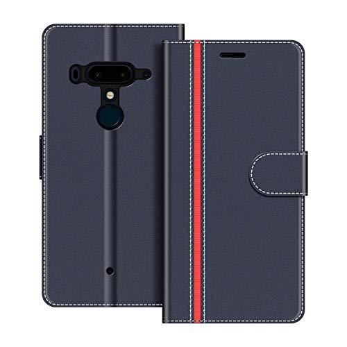 COODIO Handyhülle für HTC U12 Plus Handy Hülle, HTC U12+ Hülle Leder Handytasche für HTC U12 Plus Klapphülle Tasche, Dunkel Blau/Rot