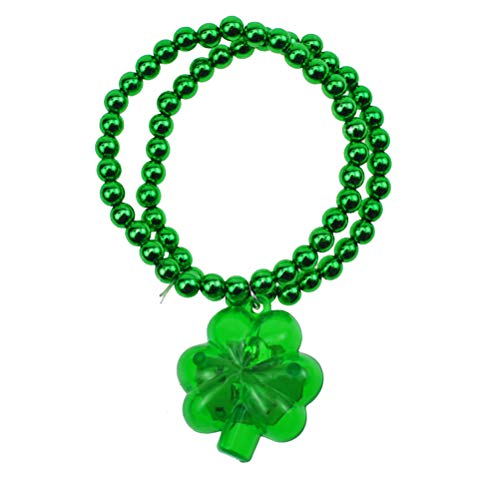 VALICLUD Chic Luminous Shamrock Bracelet Glowing Clover Wristbands Bead Bracelet Jewelry Wrist Straps Dress up Accessary Decor for St. Patrick Day