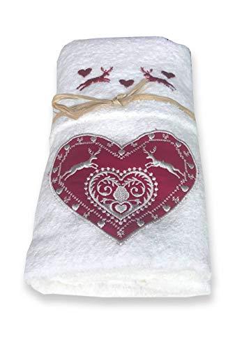 Set asciugamani in puro cotone made in italy (Cuore cervo bianco)