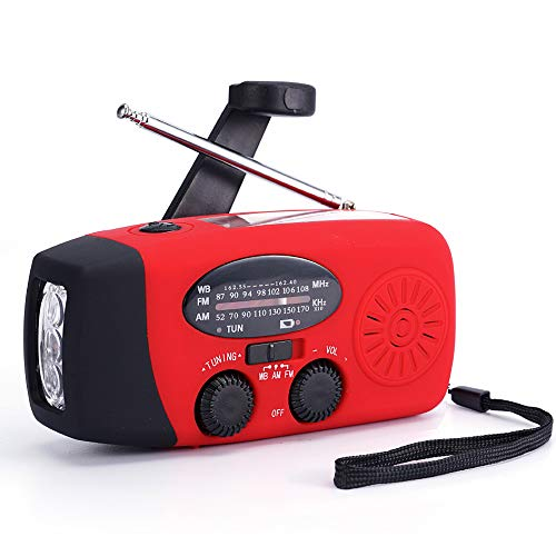 FM/AM/NOAA Weather Radio Hand Crank Self Powered Solar Emergency Radios with 3 LED Flashlight 2000mah Power Bank Smart Phone Charger (Red)