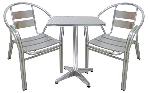 Savino Fiorenzo Ensemble Complet Salon en Aluminium 2 chaises et Table pour Maison, Balcon, Bar