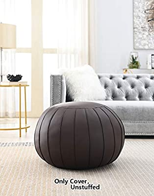 Comfortland Faux Leather Ottoman Poufs, Folding Unstuffed Pouf Covers, 22.5×15 Inches Round Foot Rest, Small Foot Stools, Bean Bag Chair, Storage Solution for Living Room, Bedroom, Kids Room (Brown)