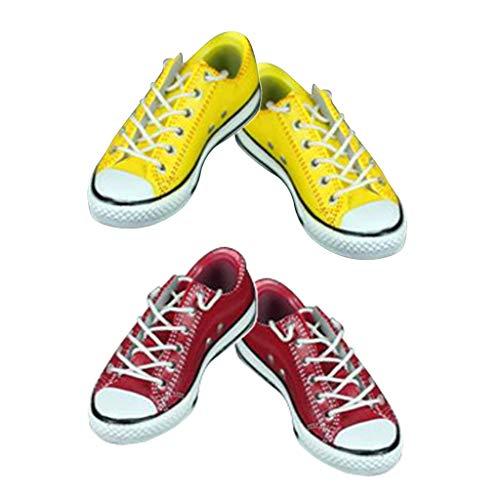 HomeDecTime 1/6 De Encaje Zapatos Planos Zapatillas De Deporte para 12 ''Hombre Figura De - Rojo + Amarillo, Las 1:6