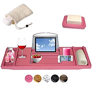 Pink Bath Caddy Tray Australia - Premium Expandable Bathtub Caddy Bridge for Over the Hot Tub - Wine Glass Holder, Book/Tablet/iPad Rack, Non Slip - Relaxation Gifts for Women - by Aussie Business LyfeFx (B08Q76TQWM) | Amazon price tracker / tracking, Amazon price history charts, Amazon price watches, Amazon price drop alerts