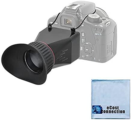"eCostConnection Elite Series 3.4x Magnification Adjustable Lock-In-Place LCD Viewfinder Fits Most 3"" LCD Screens for Canon, Nikon, Pentax, Sony DSLR & Microfiber Cloth"