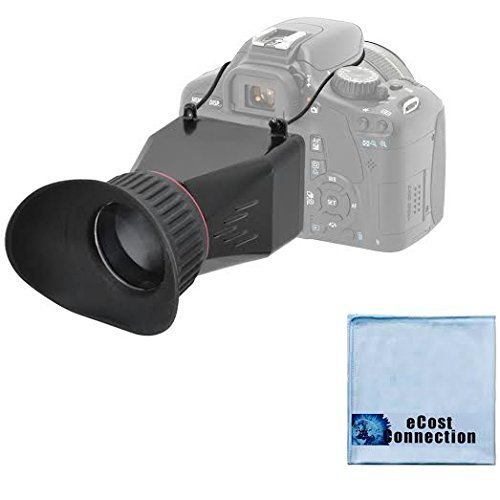 eCostConnection Elite Series 3.4x Magnification Adjustable Lock-In-Place LCD Viewfinder Fits Most 3' LCD Screens for Canon, Nikon, Pentax, Sony DSLR & Microfiber Cloth