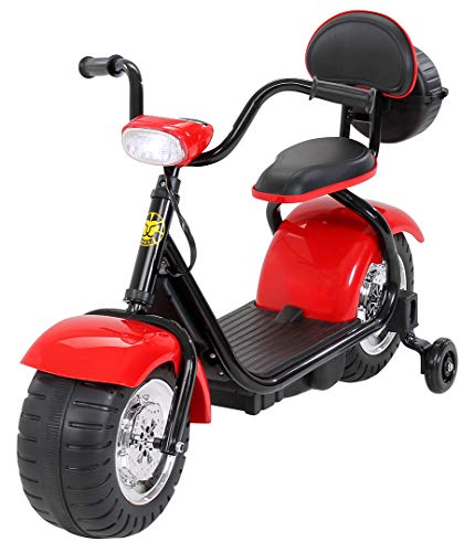 Actionbikes Motors Kinder Elektromotorrad Harley Scooter BT306 - 15 Watt Motor – Weichgummiring Reifen (Rot)