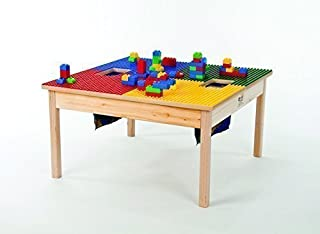 DUPLO Compatible Table Heavy Duty (32x32) with 2 Built-in Lego Storage(Patent) Made in USA!- PREASSEMBLED-Deluxe Series-Solid Wood Legs & Frame-Ages 1 to 5