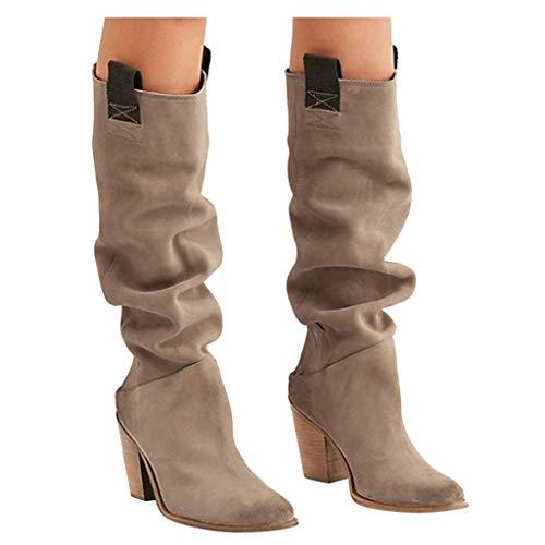 DNOQNFrauen Stiefeletten Stiefel Boots Frauen Über das Knie Stiefel Sexy High Heels Dicker Absatz Herbst Schuhe Winterstiefel Beige 40