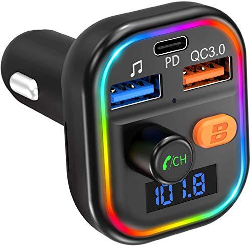 VicTsing Bluetooth Coche, PD Type-C Puerto 18W & QC3.0 Adaptador, 9 Modos de Dinámico Luz, Bluetooth 5.0 Coche Mechero Regalo GRDE, Deep Bass Reproductor Soporte Tarjeta TF/USB