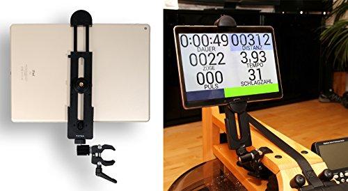 """PHOTECS Tablet-Halterung Pro V2, für iPad Pro und andere Tablet-PC´s oder Smartphones (ab 5\"""" bis 14 Zoll) an Rudergerät, Heimtrainer, Ergometer etc. (Klemmentyp1)"""