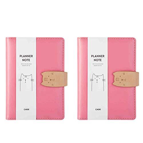 SFF A6 Piel Cuaderno de Viaje Diario Personal Revistas Descartado el Bloc de Notas Libro for Escribir en Edad Escolar para (Color : Pink*2)