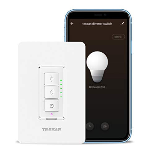 Smart Dimmer Switch for Dimmable LED Lights, TESSAN WiFi Dimmer Switch Compatible with Alexa and Google Assistant, Single-Pole, Neutral Wire Required, Programmable Timer Schedule Wall Switch - White