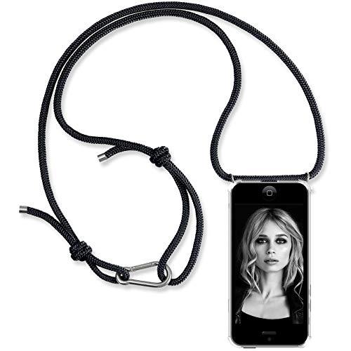ZhinkArts Handykette kompatibel mit Apple iPhone 5 / 5S / SE (2016) - Smartphone Necklace Hülle mit Band - Handyhülle Case mit Kette zum umhängen in Schwarz mit Karabinerhaken