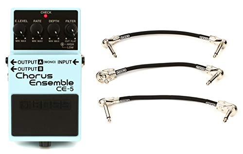 New Boss CE-5 Stereo Chorus Ensemble Pedal + MXR 3PDCP06 Angled to Angled Pedalboard Patch Cable - 6...