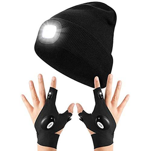Guantes de linterna LED con gorro LED para pesca nocturna, correr, camping, regalos para hombres y mujeres