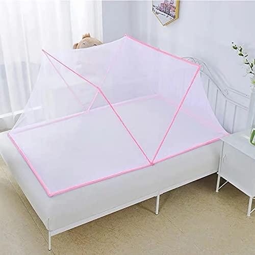 myggnät tält fällbart myggnät vuxen bärbar säng baldakin myggskydd för enkel förvaring i student sovsal (färg: Rosa, storlek: 190 x 160 x 80 cm)