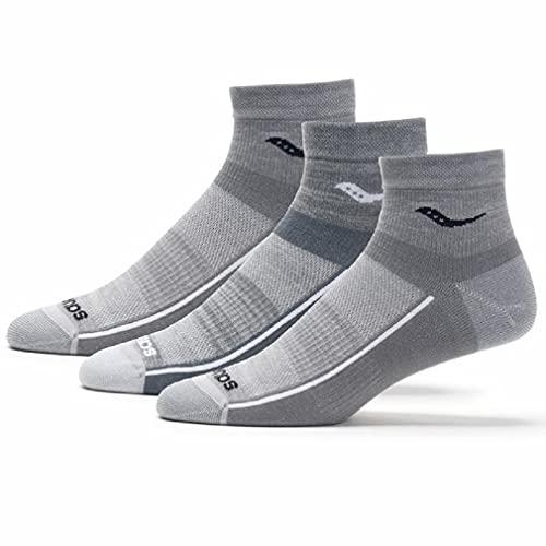 Saucony Unisex Inferno Ultralight Quarter 3-Pack Socks, Grey, Large