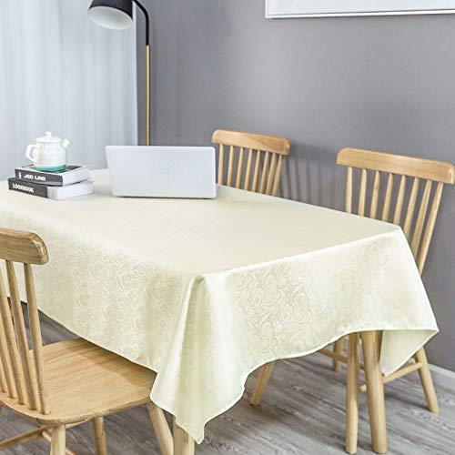 KINLO Tischdecke abwaschbar Tischtuch Pflegeleicht Tablecloth 140 x 180 cm (2,5 ㎡) Tischwäsche Seidenglanz wasserabweisend Tafeldecke cremefarben