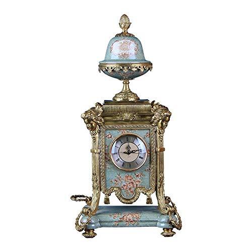 Yaju Quarz Pendeluhr Kaminuhren,Antike Kunst Uhr Kupfer + Porzellan Wohnaccessoires Studie Zimmer Veranda Desktop Ornamente 28 * 24,5 * 57 cm