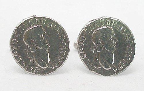 Boutons de Manchette Monnaie Romaine Empereur Claudius (avec Boîte à Cadeau)