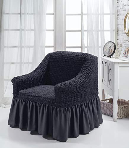 My Palace Aurora Sesselschoner 1 Sitzer Stretch und antirutsch Sesselhusse Fernsehsessel Bezug elastischer Sesselüberwurf mit Schaumstoffankern, 70-120cm Anthrazit