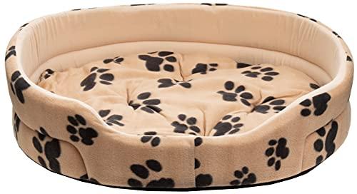 Brandsseller Cama para mascotas con diseño de huella de patas, aprox. 90 x 80 x 22 cm, para mascotas, perros y gatos, antideslizante, color beige, aprox. 90 x 80 x 22 cm