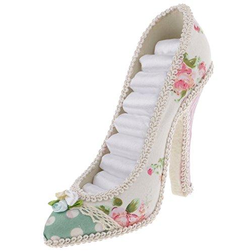 gazechimp High Heel Zapatos para joyas, soporte para joyas de oído Anillo, flor de impresión