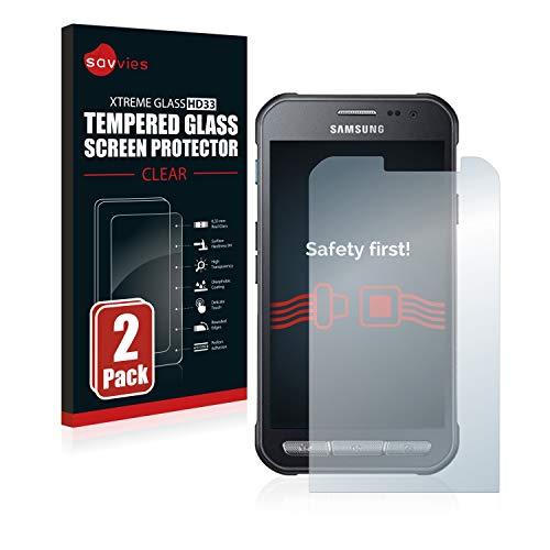 Savvies Panzerglas kompatibel mit Samsung Galaxy Xcover 3 (2 Stück) - Echt-Glas, 9H Härte, Anti-Fingerprint