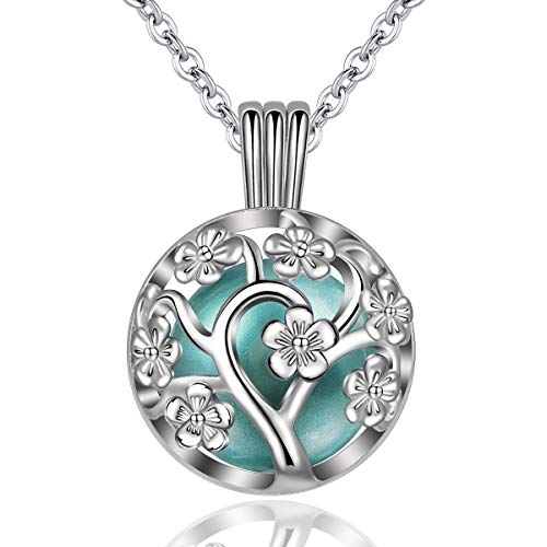 """EUDORA Harmony Bola Locket Necklace Pregnancy, Flower of Life Pendant Cherry Blossoms Necklace with The Music Chime Bell Women Jewellery, Romantic Gift for Women 30"""""""