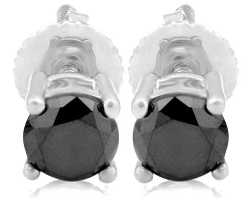 Prism Jewel 0.16ct Round 4 Prong Set Black Diamond Screw Back Stud Earrings, 14k White Gold