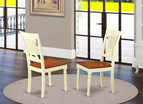 East West Furniture PVC WHI W Plainville dining chair set of 2 Wooden Seat and Buttermilk Solid wood Frame wooden dining chairs