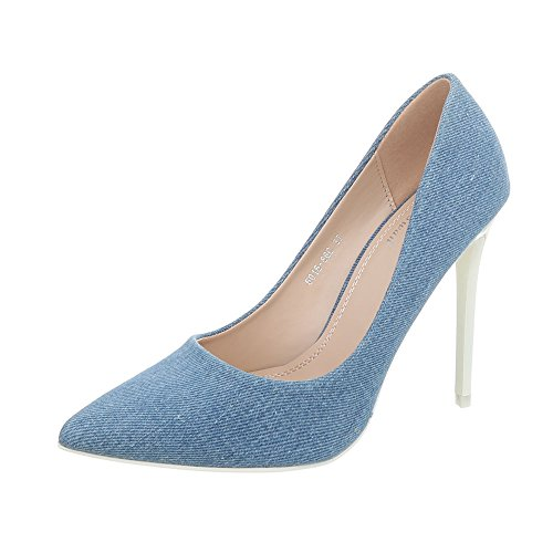 Ital-Design High Heel Pumps Damen-Schuhe High Heel Pumps Pfennig-/Stilettoabsatz High Heels Pumps Blau Weiß, Gr 36, 5015-86C-