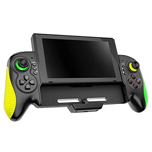 【半自動&全自動連射付/携帯モード専用】 スイッチ グリップコントローラー 一体式 ダブルモーター振動 6軸ジャイロセンサー搭載 TURBO/AUTO連射機能 人間工学に基づいたデザイン Nintendo Switch対応 日本語取扱説明書